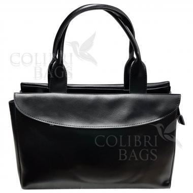 Женская кожаная сумка-портфель City Classic. Черный