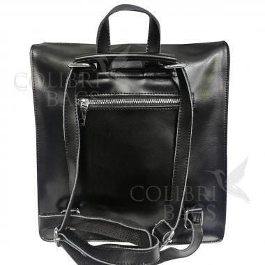 Кожаный рюкзак-сумка COMANDOR. ЧЕРНЫЙ.