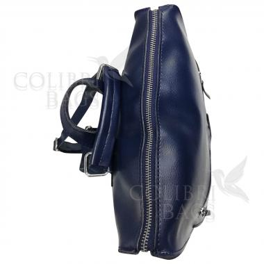 Кожаный рюкзак-сумка COMANDOR. ТЕМНО-СИНИЙ.