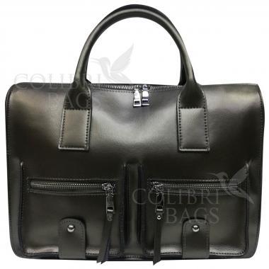 Женская кожаная сумка Comandor bag. Стальной.