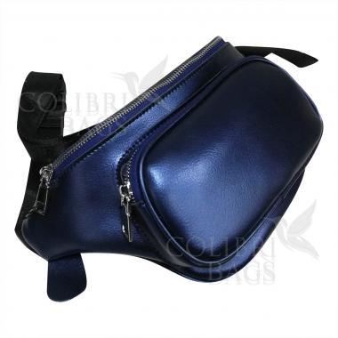 Женская кожаная поясная сумка Corsica. Сапфир
