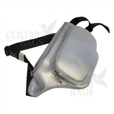 Женская кожаная поясная сумка Corsica. Серый перламутр