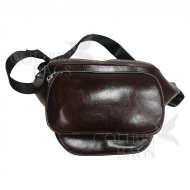 Женская кожаная поясная сумка Corsica. Шоколад