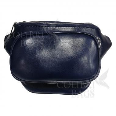 Женская кожаная поясная сумка Corsica. Темно-синий