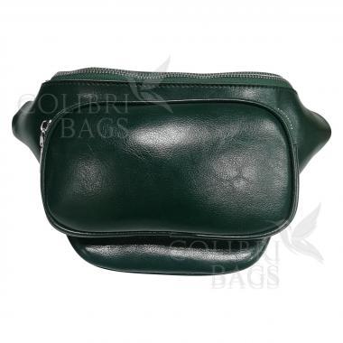 Женская кожаная поясная сумка Corsica. Темно-зеленый