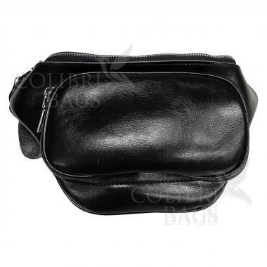 Женская кожаная поясная сумка Corsica. Черный