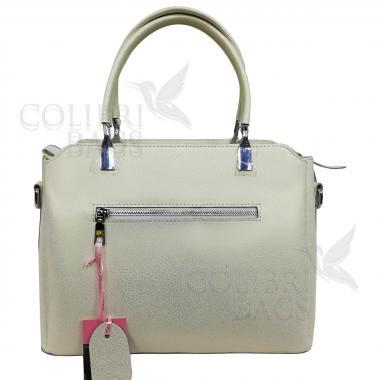 Женская кожаная сумка Dauda. Белый перламутр