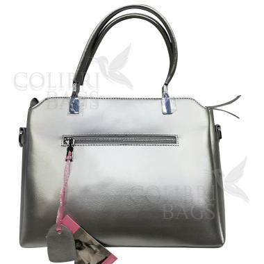 Женская кожаная сумка Dauda. Серебро