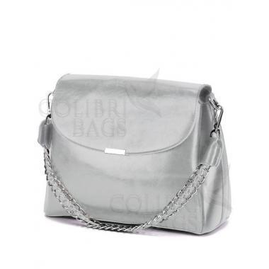 Женская кожаная сумка Dina. Пепельный