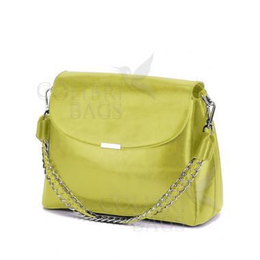 Женская кожаная сумка Dina. Лаймовый