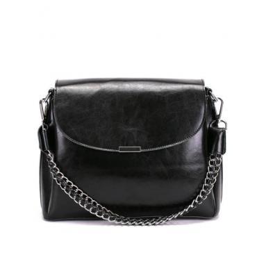 Женская кожаная сумка Dina. Черный