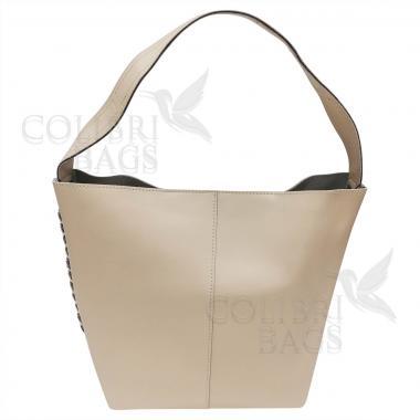 Женская кожаная сумка Dolce. Слоновая кость