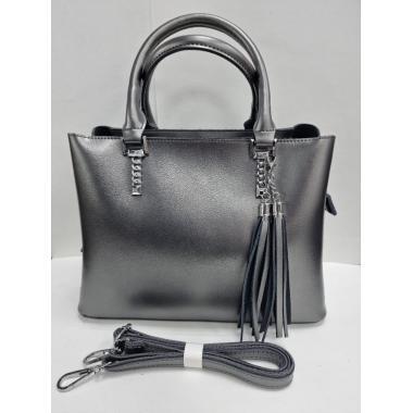 Женская кожаная сумка Dora. Стальной