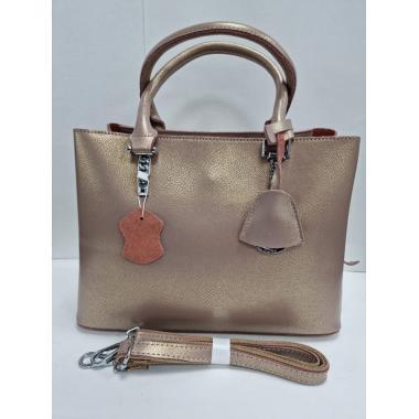 Женская кожаная сумка Dora. Серый перламутр