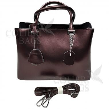 Женская кожаная сумка Dora. Кофе жемчужный