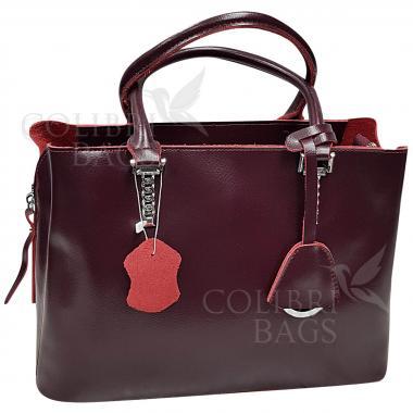 Женская кожаная сумка Dora. Ежевичный