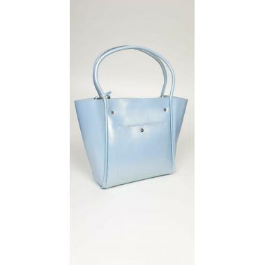 Женская кожаная сумка Doris Leto. Голубой перламутр.