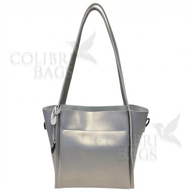 Женская кожаная сумка Doris. Серый перламутр.