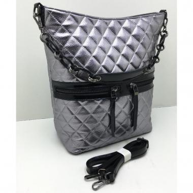 Женская кожаная сумка DRAMA. Серебро