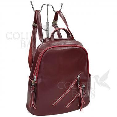 Кожаный рюкзкак-трансформер Endy. Гранат