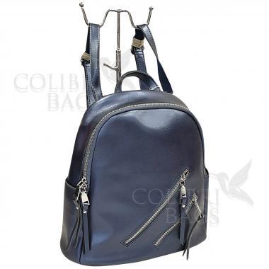 Кожаный рюкзкак-трансформер Endy. Сапфир