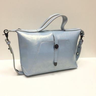 Женская кожаная сумка FASSIO. Голубой перламутр.