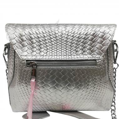 Женская кожаная сумка Fiona. Серебро.