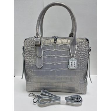 Женская кожаная сумка FLORA. Серый перламутр