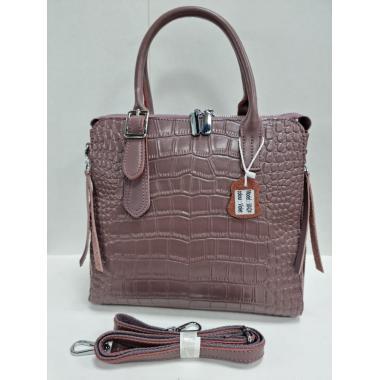 Женская кожаная сумка FLORA. Лиловый