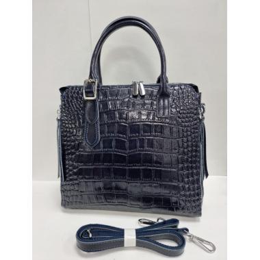 Женская кожаная сумка FLORA. Темно-синий