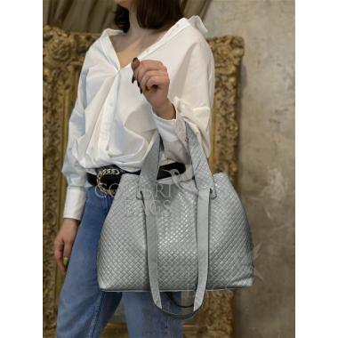 Женская кожаная сумка FLORIANA. Светло-серый