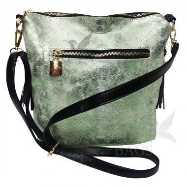 Женская кожаная сумка Friday. Зеленый перламутр