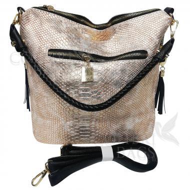 Женская кожаная сумка Friday. Бежевый перламутр