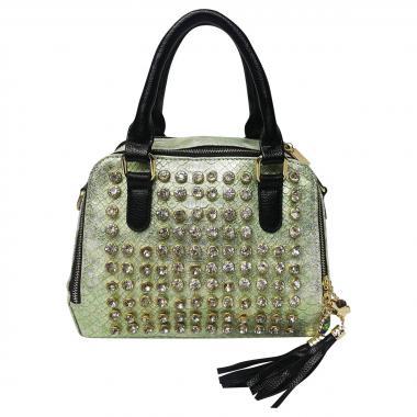 Женская кожаная сумка Friday Box. Зеленый перламутр