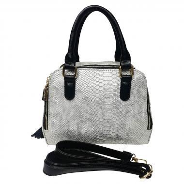 Женская кожаная сумка Friday Box. Белый перламутр