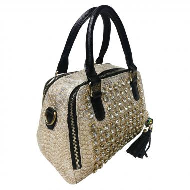 Женская кожаная сумка Friday Box. Бежевый перламутр