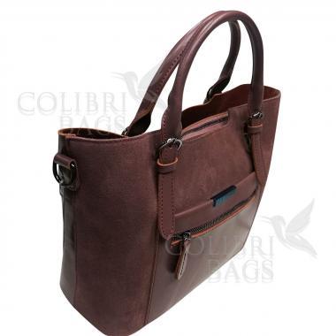 Женская кожаная сумка FUDZI ЗАМША. Лиловый