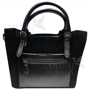 Женская кожаная сумка FUDZI ЗАМША. Черный