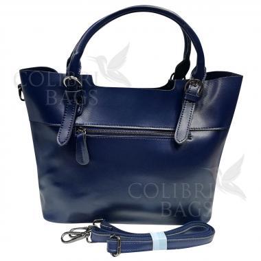 Женская кожаная сумка FUDZI ЗАМША. Темно-синий