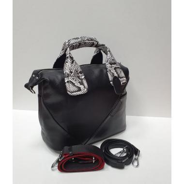 Женская кожаная сумка-тоут GALATEA. ЧЕРНЫЙ/ПИТОН.