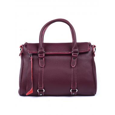 Женская кожаная сумка GIORO. Ежевичный