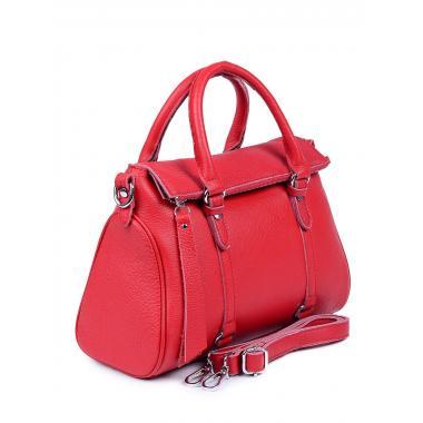 Женская кожаная сумка GIORO. Ярко-красный