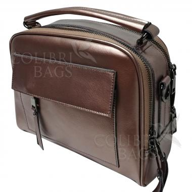 Женская кожаная сумка Gretta. Бронза.