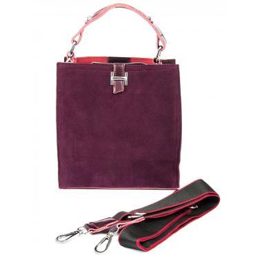 Женская кожаная сумка HERMENA. Ежевичный