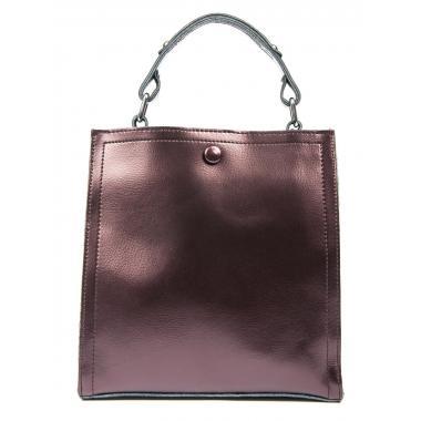 Женская кожаная сумка HERMENA. Кофе жемчужный