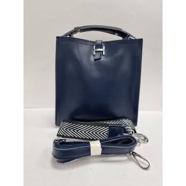 Женская кожаная сумка HERMENA. Темно-синий