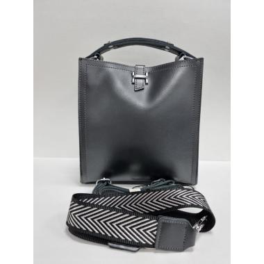 Женская кожаная сумка HERMENA. Стальной