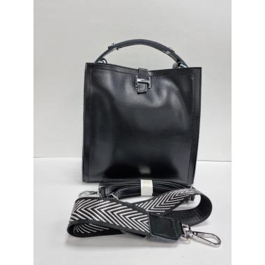 Женская кожаная сумка HERMENA. Черный