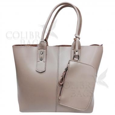 Женская кожаная сумка IDALGO c косметичкой. Бежевый
