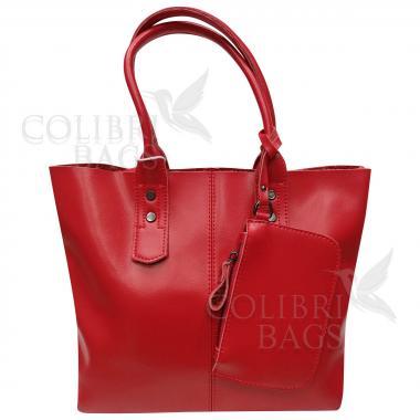 Женская кожаная сумка IDALGO c косметичкой. Красный